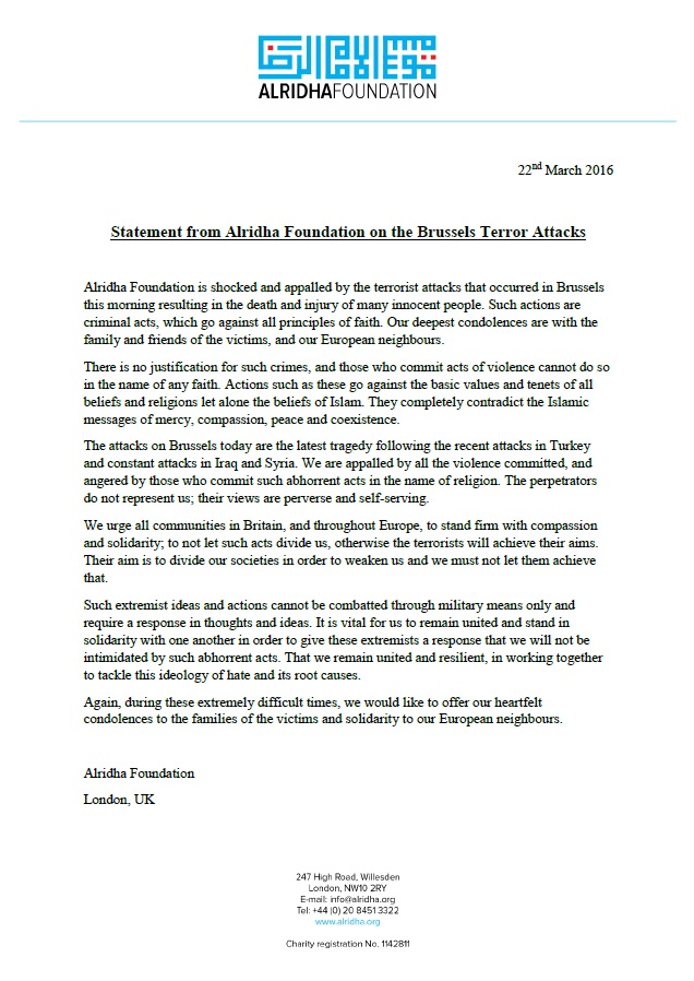 foundation statement on brussels attack
